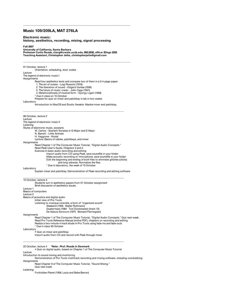Music 109/209LA, MAT 276LA - clang mat ucsb edu