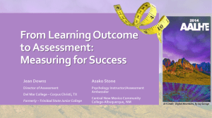 From Learning Outcome to Assessment: Measuring for