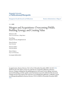 Mergers and Acquisitions: Overcoming Pitfalls, Building Synergy