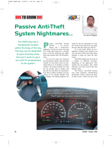 Passive Anti-Theft System Nightmares…