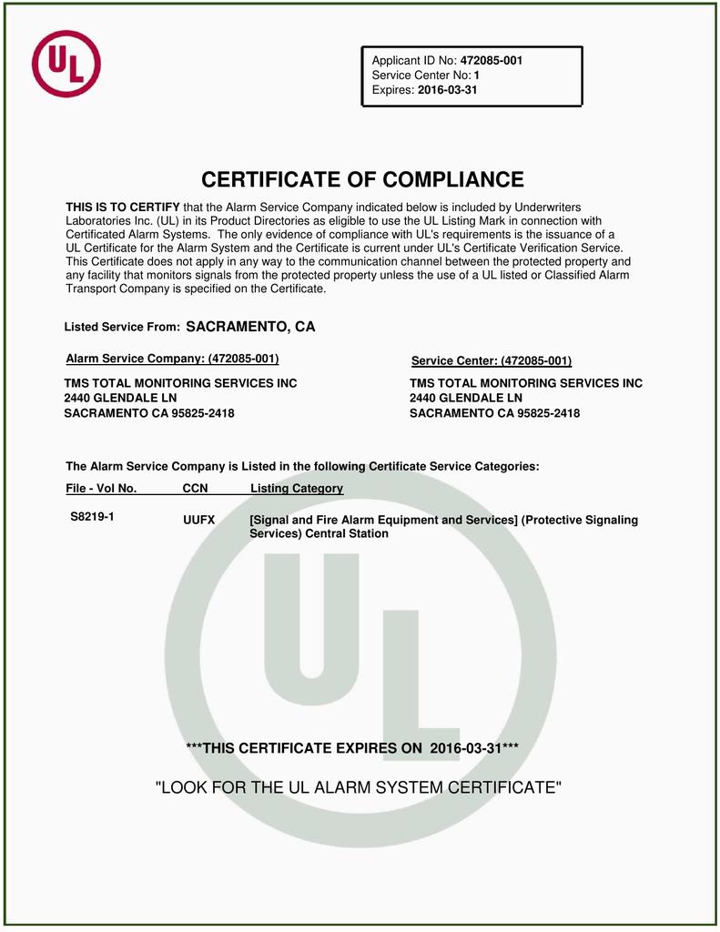 certificate ul compliance certify