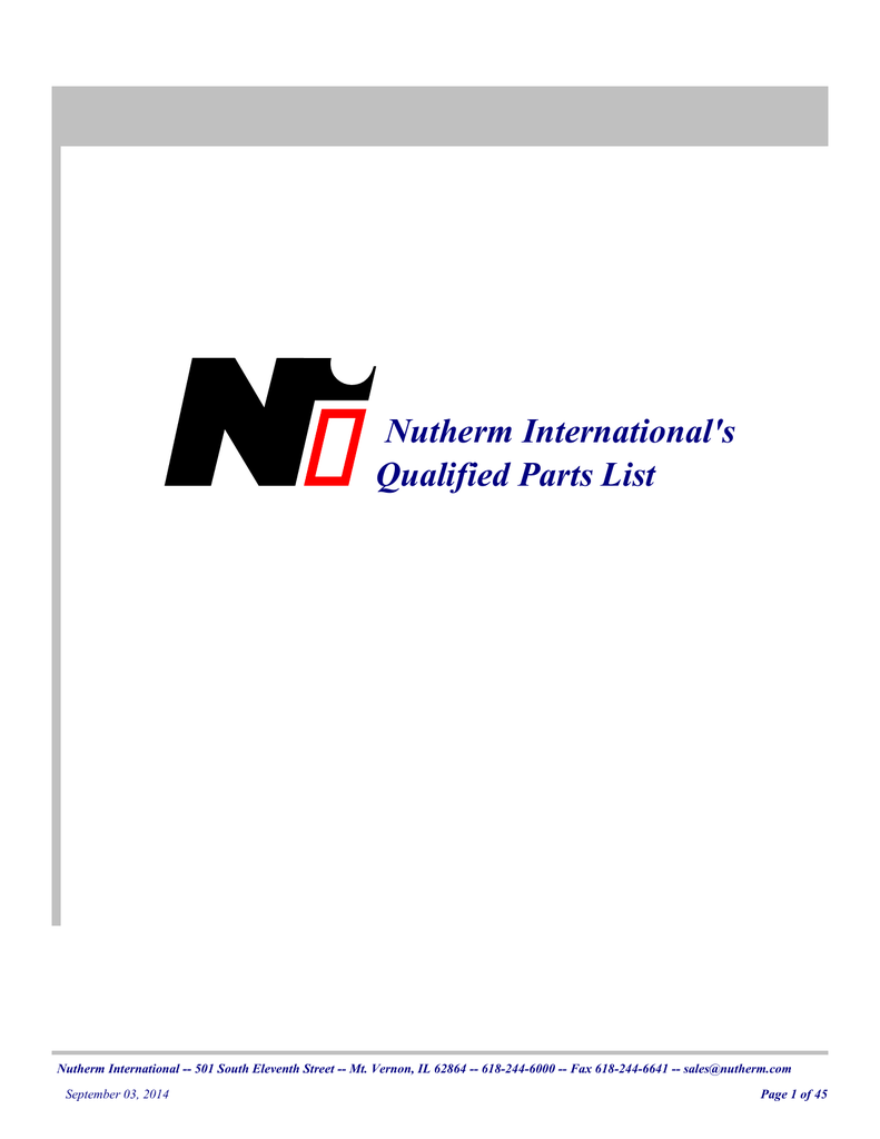 Nutherm International`s Qualified Parts List on