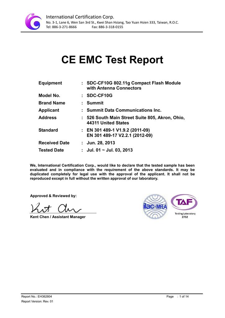 CE EMC Test Report - Summit Data Communications