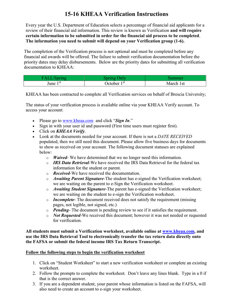 Worksheets Fafsa Verification Worksheet 15 16 verification by kheaa instructions