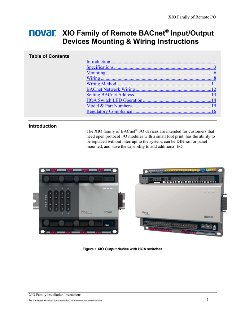 Novar System Manual Control Wiring For Hvac Systems Xio Mounting And Instructions Rh Studylib Net Software Controls