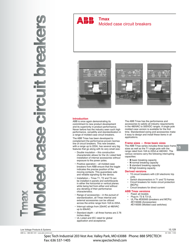 Tmax Molded case circuit breakers - Spec