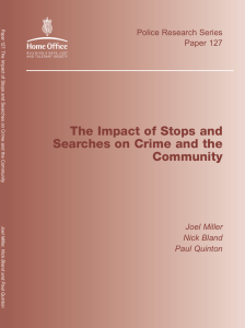 prs127 The Impact of stops and searches on crime and the community