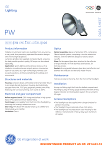 PW Outdoor Luminaires - Data sheet