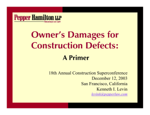 Owner`s Damages for Construction Defects