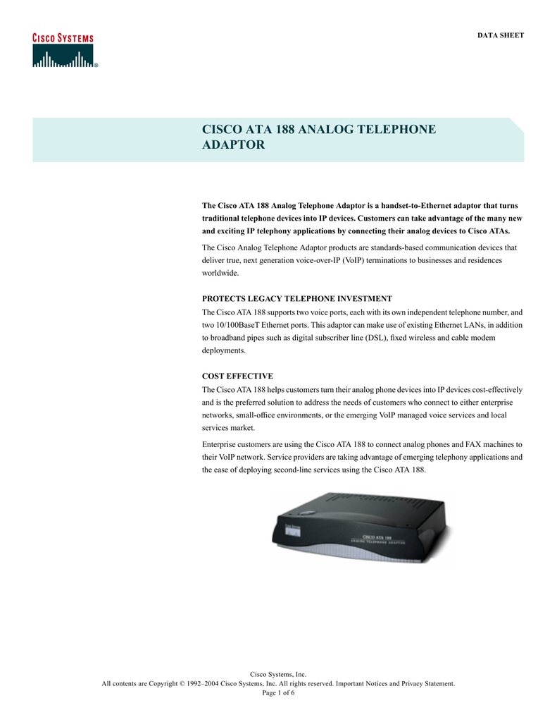 cisco ata 188 analog telephone adaptor