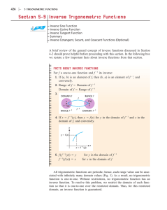 Section 5-9 Inverse Trigonometric Functions