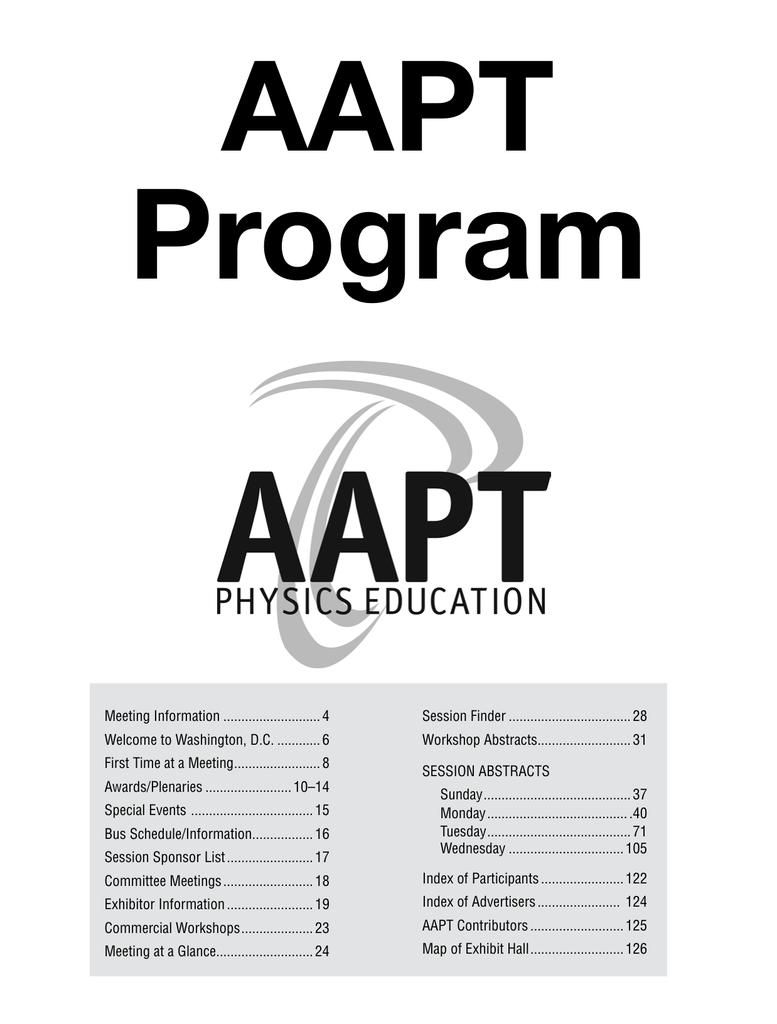 Program - American Association of Physics Teachers