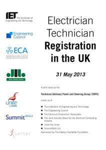 Electrician Technician Registration in the UK