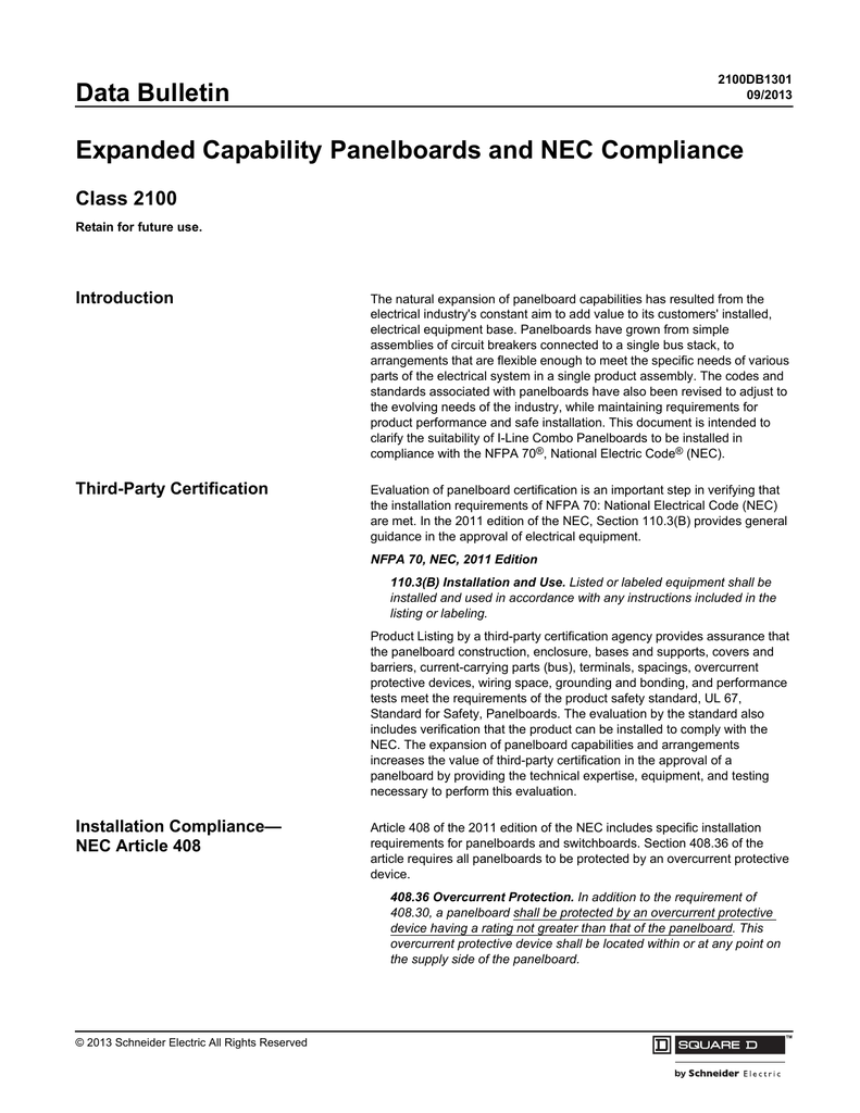 Data Bulletin Expanded Capability Panelboards And Nec Compliance