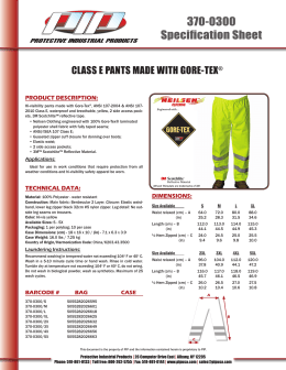 CLASS E PANTS MADE WITH GORE-TEX®