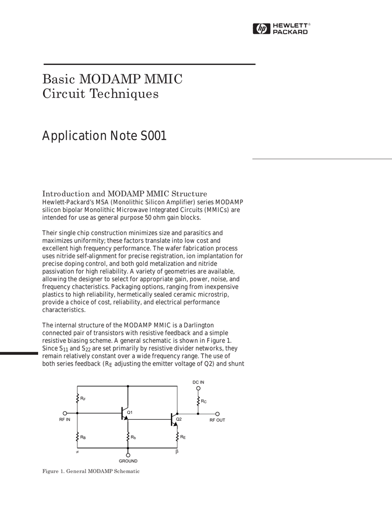 Basic Modamp Mmic Circuit Techniques Application Note S001 Applications And Uses Of Integrated Circuits