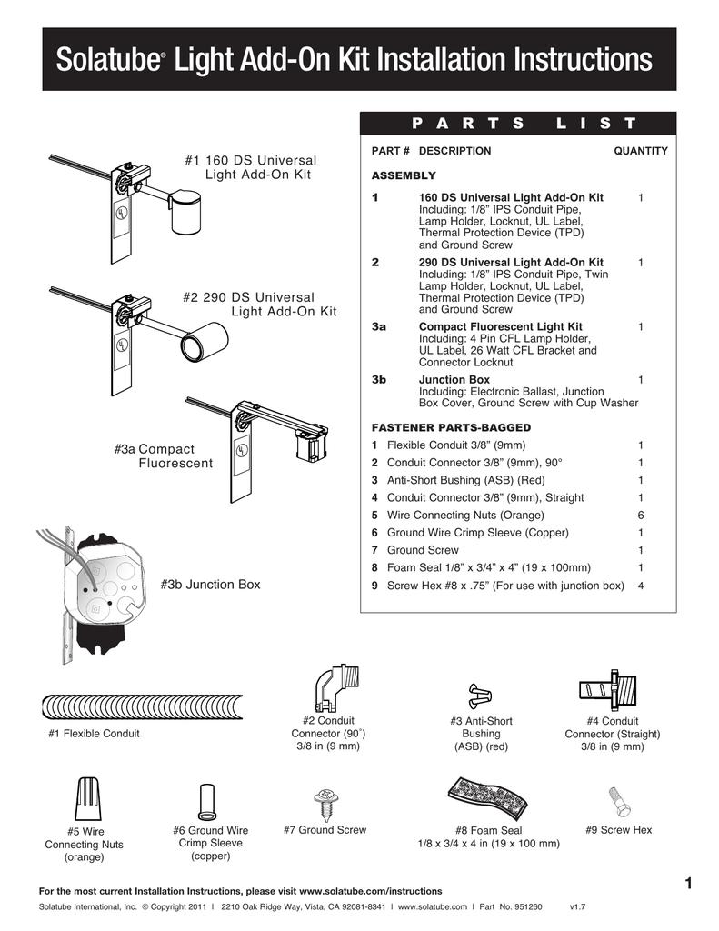 Solatube Light Add On Kit Installation Instructions 4 Pin Cfl Wiring Diagram