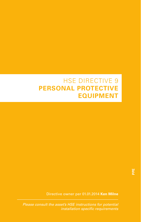 Hse Directive 9 Personal Protective Equipment