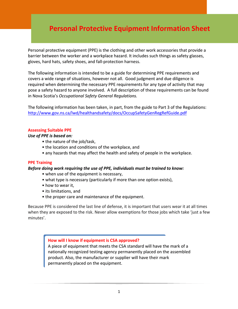 Personal Protective Equipment Information Sheet