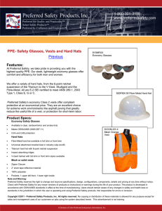 PPE- Safety Glasses, Vests and Hard Hats Previous Features