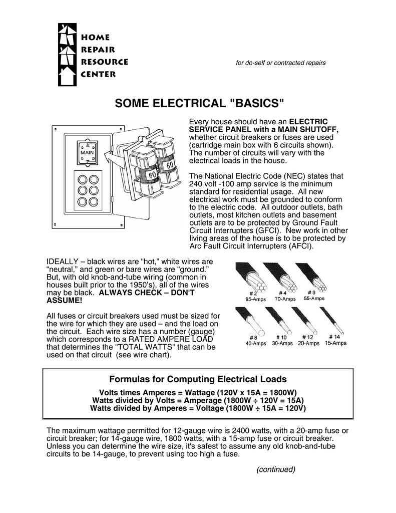 Electricity Basics House Wiring Voltage Formula