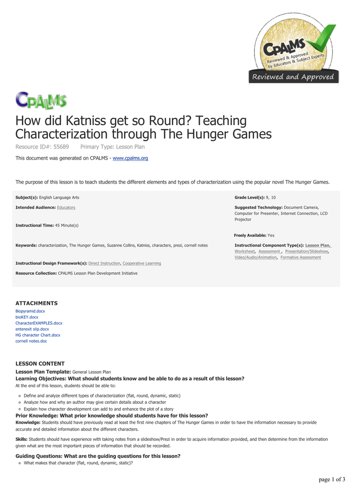 Teaching Characterization Through The Hunger Games