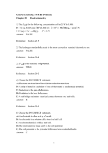 General Chemistry, 10e Cdn (Petrucci) Chapter 20 Electrochemistry