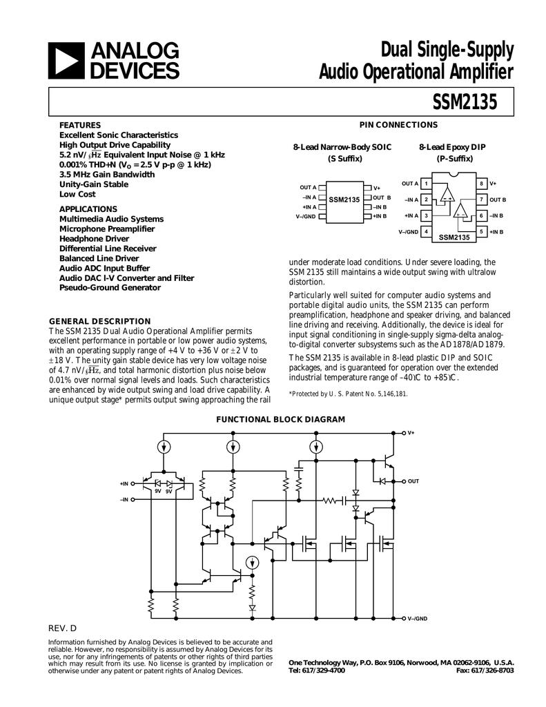 Ssm2135 Dual Single Supply Audio Operational Amplifier Op Amp Tone Generator Circuit