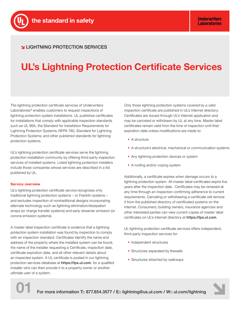 Ul S Lightning Protection Certificate Services