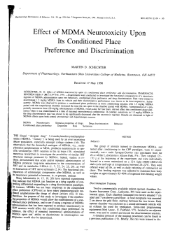Effect of MDMA Neurotoxicity Upon Its Conditioned Place