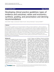 Developing clinical practice guidelines: types of evidence and