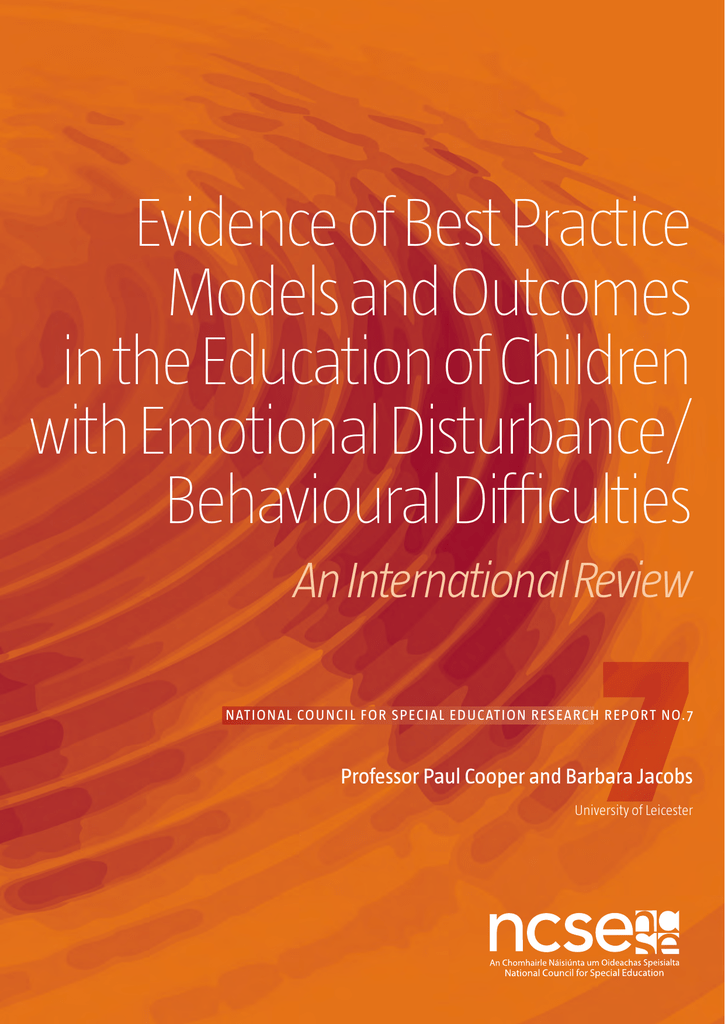 Special Education Best Practices And >> Evidence Of Best Practice Models And Outcomes In The