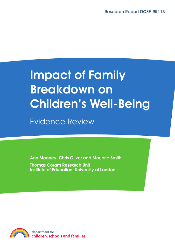 Report Family Well Being Education >> Impact Of Family Breakdown On Children S Well