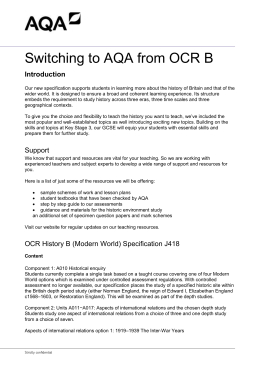 GCSE History Guide Switching to AQA from OCR B