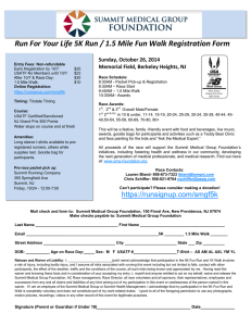 Run For Your Life 5K Run / 1.5 Mile Fun Walk Registration Form