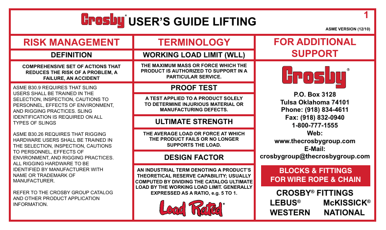 Crosby`s User`s Guide Lifting