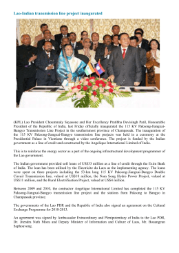 Lao-Indian transmission line project inaugurated