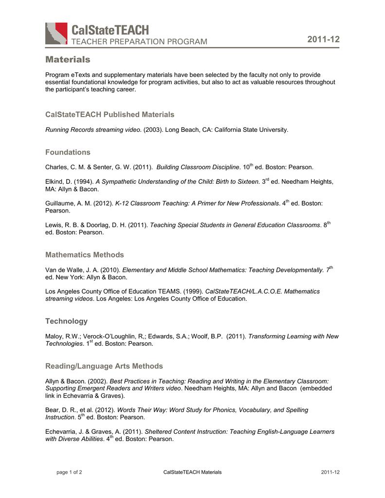 Materials List - CalStateTEACH