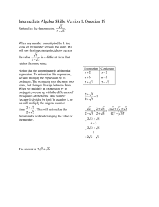 Elementary Algebra Skills, Version 1, Question 1