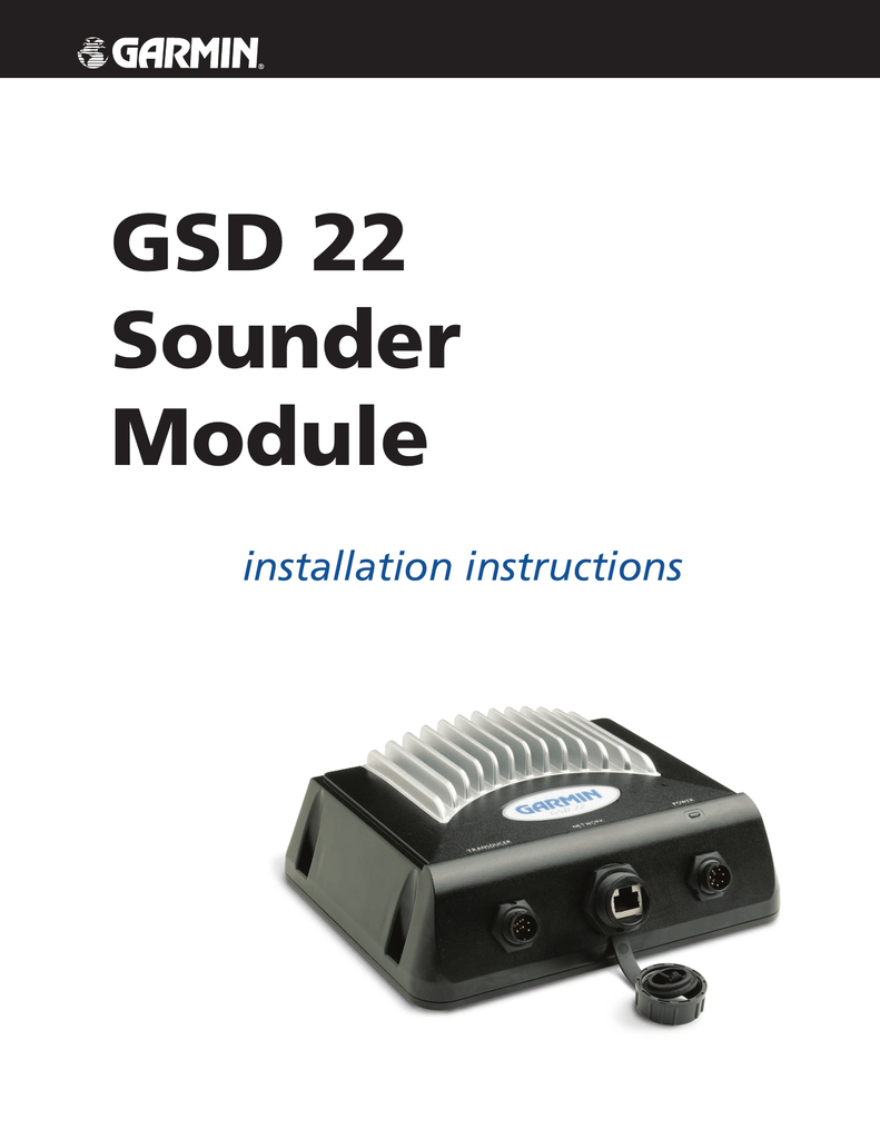 gsd 22 installation instructions Garmin Fishfinder 160C