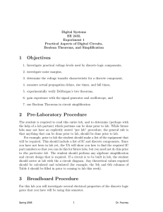 Lab #1: Practical Aspects of Digital Circuits, Boolean Theorems, and