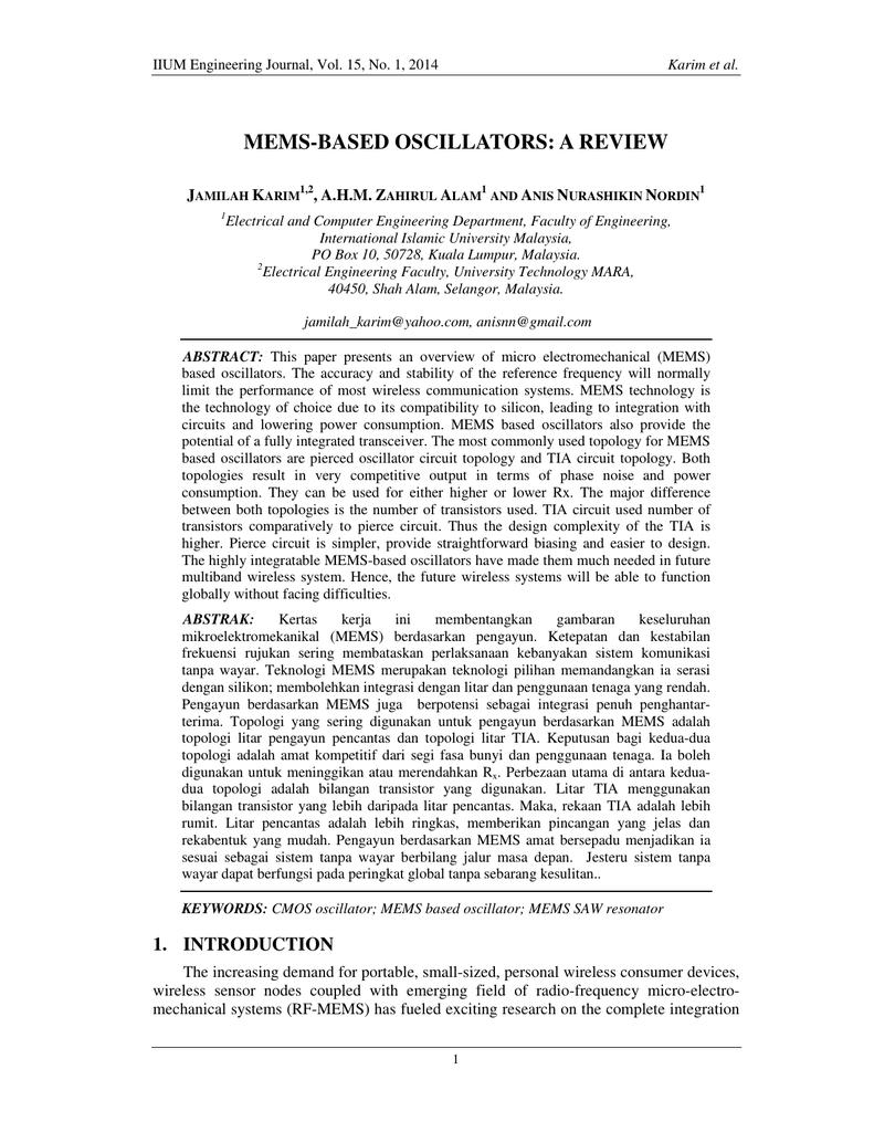 Mems Based Oscillators A Review Iium Journals Cmos Inverter Parallel Lc Oscillator Oscillatorcircuit Signal