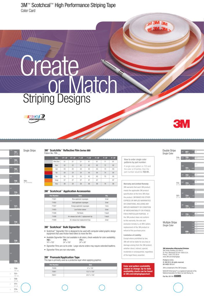 3m Scotchcal High Performance Striping Tape Color Card