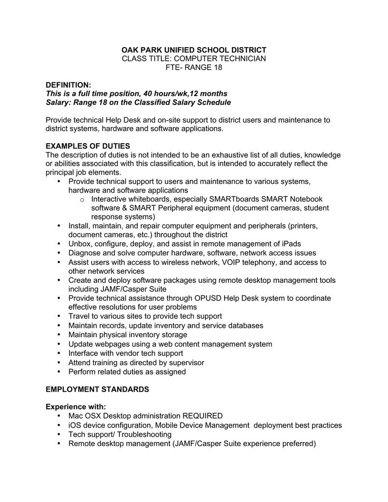 Fantastic Computer Support Technician Job Description Updated V2 Home Interior And Landscaping Dextoversignezvosmurscom
