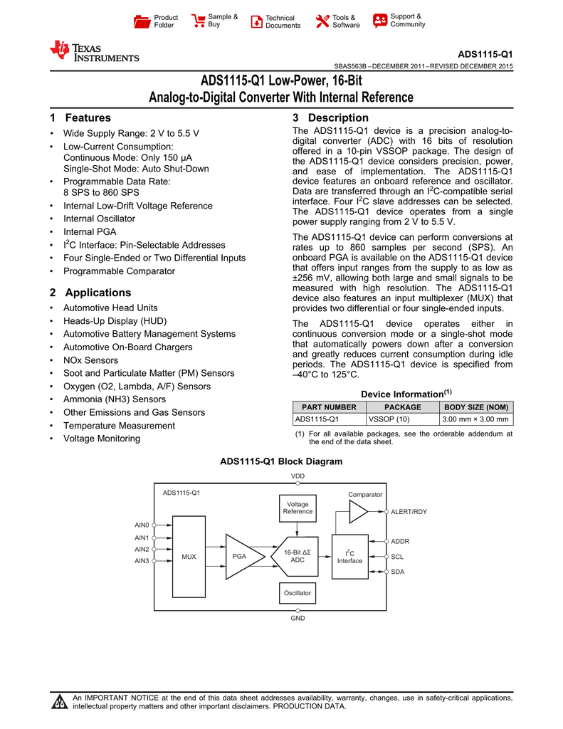 Ads1115 Q1 Ultra Small Low Power 16 Bit 1 Comparator Block Diagram