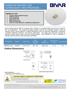 SURFACE MOUNT LED ULTRAVIOLET, 0603 PACKAGE