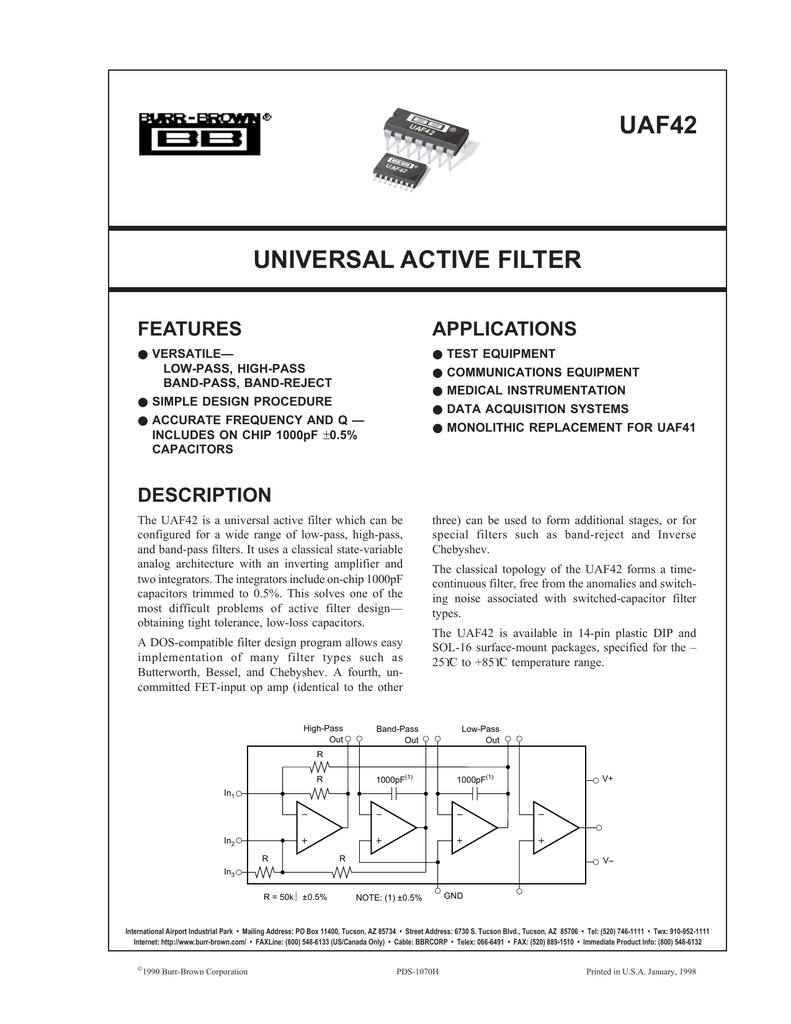 Universal Active Filter Uaf42 Highpass Hp For 1khz Circuit Diagram