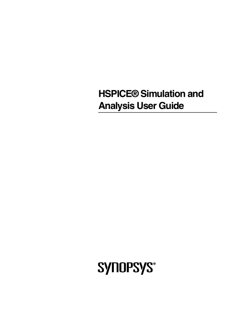 Hspice Simulation And Analysis User Guide Circuit Simulator Ecl Nor Or
