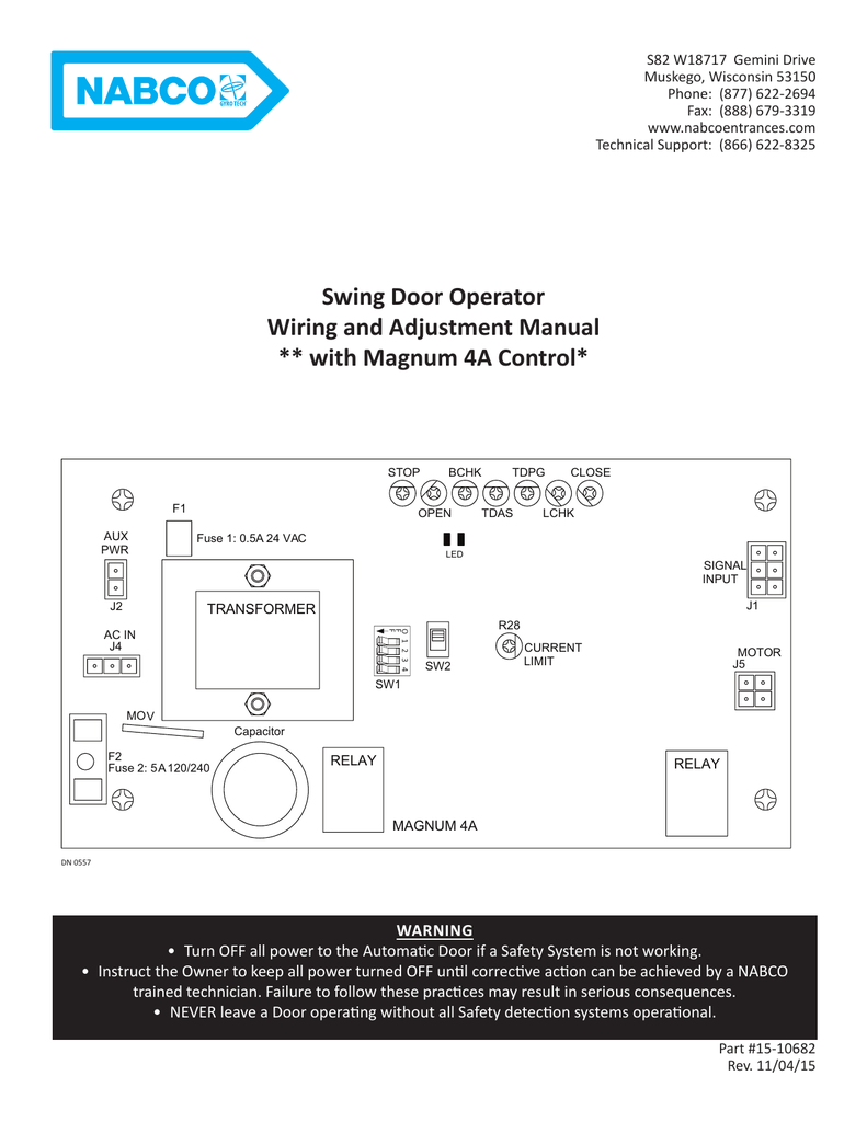 Swing Door Operator Wiring and Adjustment Manual ** with on