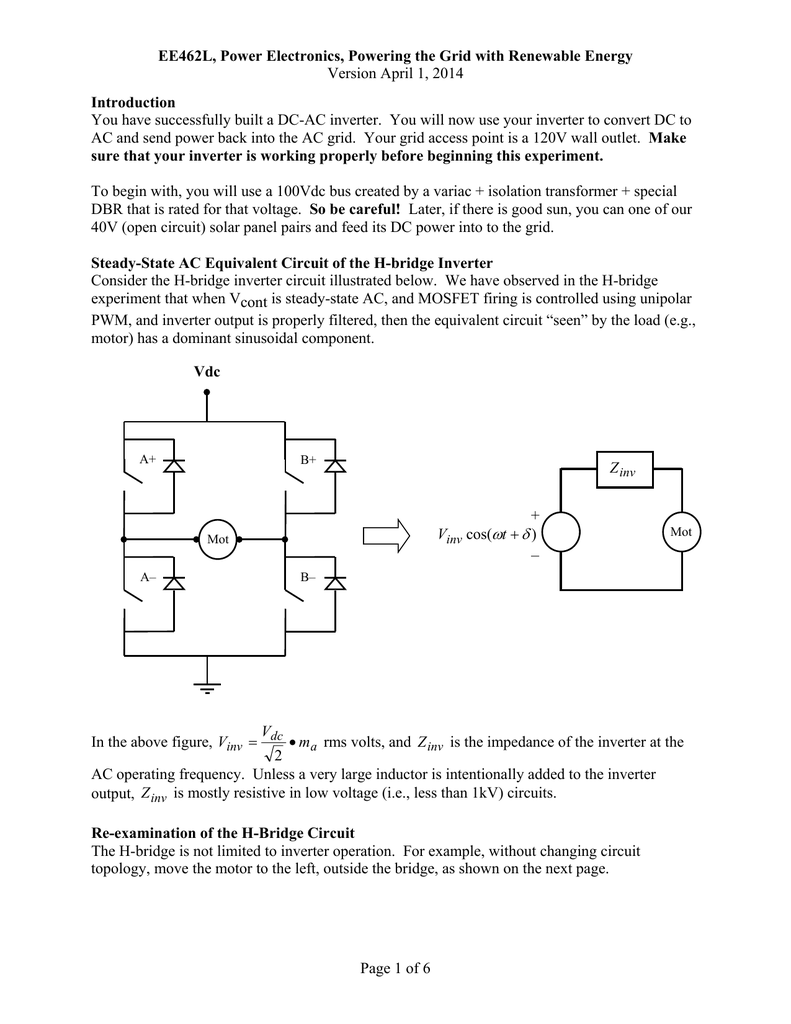 Power To The Grid Lab Document Re Circuit Diagram For An Inverter